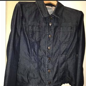 Chico's ruffled denim jacket
